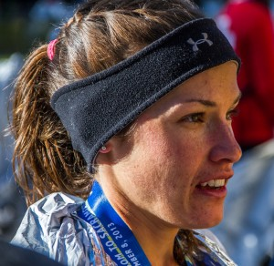 Wade being interviewed moments after winning the California International Marathon in her debut appearance.