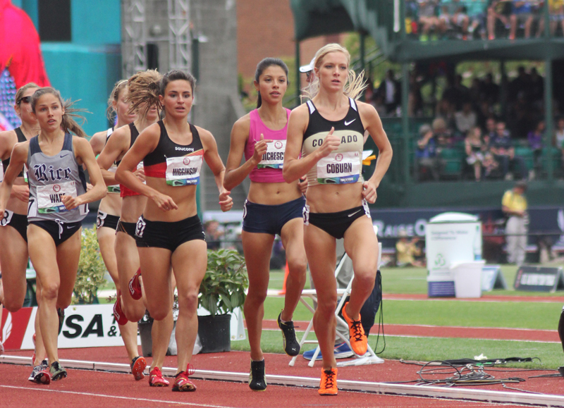 Wade, far left, at the Olympic trials final in the 3000m steeple.