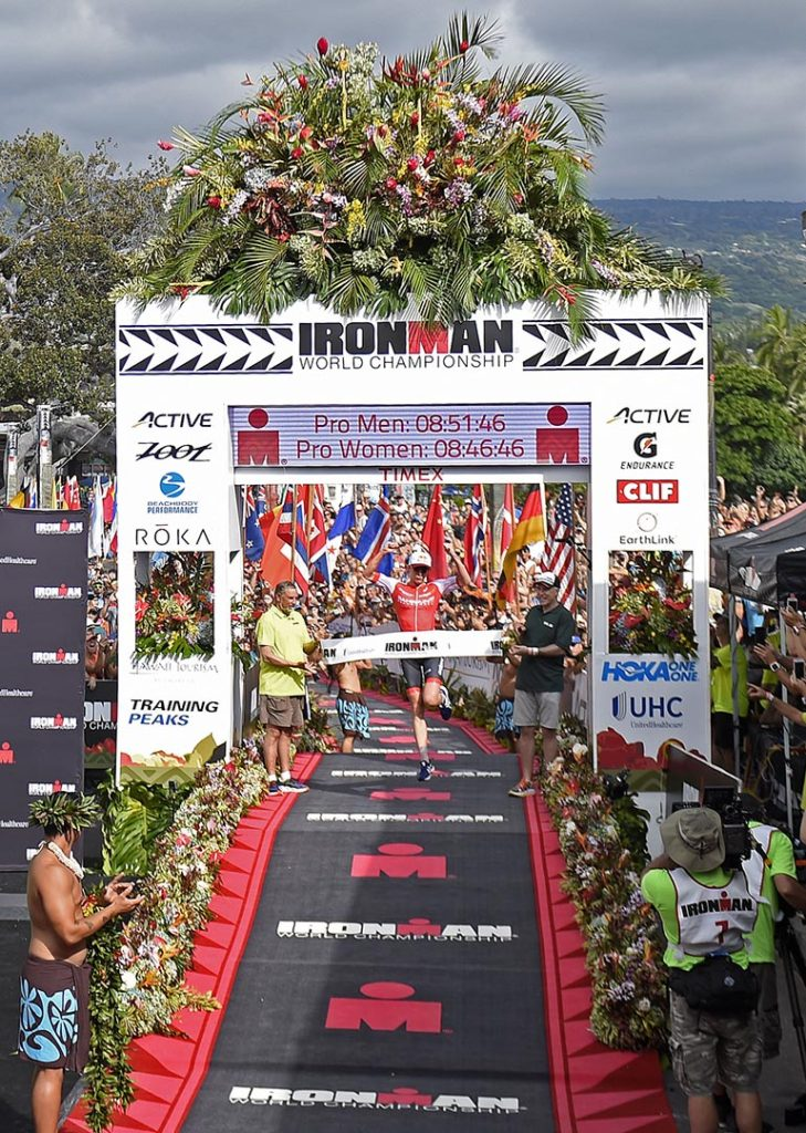 KAILUA-KONA, HI - OCTOBER 8: Daniella Ryf of Switzerland crosses the finish line as the 1st place Professional Female in a time of 8:46.46 during the the 2016 IRONMAN Triathlon World Championships in Kailua-Kona, Hawaii on October 8, 2016. (Donald Miralle for Ironman)