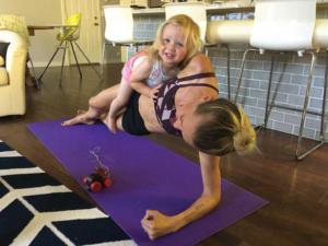 Sarah Mac Robinson Workingout with Daughter Penelope