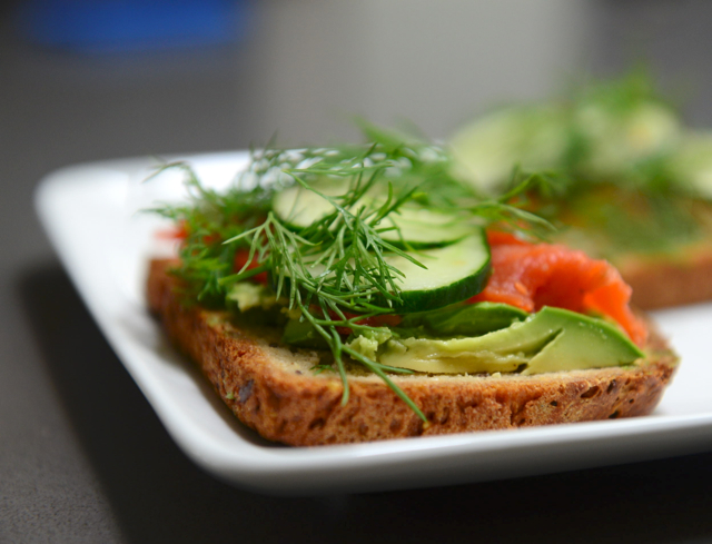Open-Faced Salmon Avocado Sandwich
